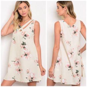 Cream floral cross-cross front sleeveless dress